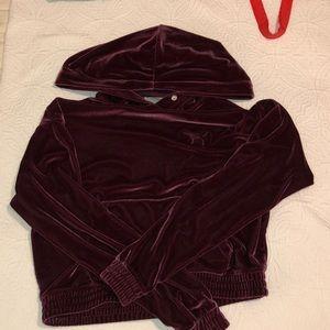 PINK maroon velvet hoodie